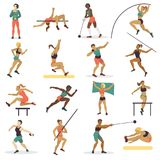 High jump athlete sport woman athletics characters silhouette doing different track vector illustration. Stock Images