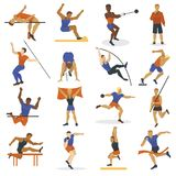 High jump athlete sport men athletics characters silhouette doing different track vector illustration. Vector illustration athlete doing different track field Stock Images