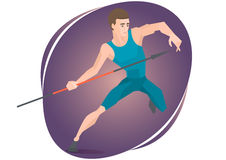 Vector illustration of an athlete throwing a javelin. Stock Images
