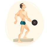 Vector illustration of an athlete weightlifter. Royalty Free Stock Photos