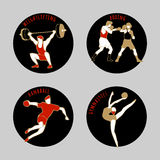Vector illustration of Athletes. Boxing. Handball. Weightlifting. Artistic Gymnastics. Summer games. Round sports icons with sportsmen for competitions or Stock Photo