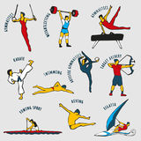 Vector illustration of Athletes. Athletes  on the grey background. Set of summer games icons. Vector illustraton of sportsmen for any competition and Royalty Free Stock Photo