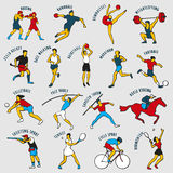 Vector illustration of Athletes. Athletes  on the grey background. Set of summer games icons. Vector illustraton of sportsmen for any competition and Stock Images