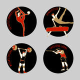 Vector illustration of Athletes. Gymnastics. Shooting sport. Weightlifting. Artistic Gymnastics. Summer games. Round sports icons with sportsmen for Royalty Free Stock Photography
