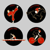 Vector illustration of Athletes. Karate. Horse Riding. Cycle sport. Rowing sport. Summer games icons. Round sports icons set with sportsmen for any competition Stock Images