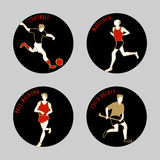 Vector illustration of Athletes. Soccer. Marathon. Race walking. Field Hockey. Summer games. Round sports icons with sportsmen for competitions or championship Stock Photos