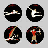 Vector illustration of Athletes. Swimming. Diving. Regatta. Target Archery. Summer games icons. Round sports icons set with sportsmen for any competition or Stock Photography