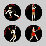 Vector illustration of Athletes. Volleybal. Basketball. Badminton. Tennis. Summer games. Round sports icons with sportsmen for competitions or championship Stock Photo