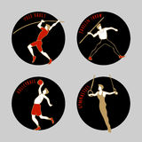 Vector illustration of Athletes. Volleybal. Jevilin Throw. Pole Vault. Artistic Gymnastics. Summer games. Round sports icons with sportsmen for competitions or Royalty Free Stock Photo