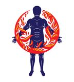 Vector illustration of athletic man, human and nature harmony, f. Ire man covered with a fireball Stock Photos