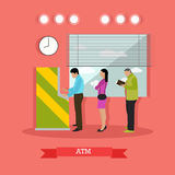 Vector illustration of ATM, people standing in queue for cash Royalty Free Stock Photography