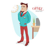 Vector illustration with attractive business man. Can be used for infographics. EPS 10 royalty free illustration
