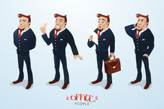 Vector illustration with attractive business man. In different poses and situations. Can be used for infographics. EPS 10 royalty free illustration