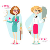 Vector illustration with attractive business woman. Can be used for infographics. EPS 10 stock illustration
