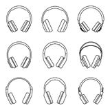 Headphone for audio experience. Vector thin line Royalty Free Stock Image