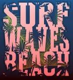Vector Illustration auf dem Thema der Brandung und des Surfens Schmutz-BAC Lizenzfreie Stockfotos