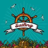 Vector Illustration auf dem Thema von Seereisen und von Segeln Lizenzfreies Stockfoto