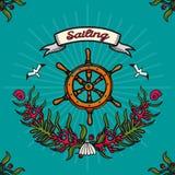Vector Illustration auf dem Thema von Seereisen und von Segeln Lizenzfreie Stockfotografie