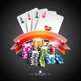 Vector Illustration auf einem Kasinothema mit der Farbe, die Chips und Pokerkarten auf dunklem Hintergrund spielt Stockfotos