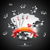 Vector Illustration auf einem Kasinothema mit Pokersymbolen und Pokerkarten auf dunklem Hintergrund Stockfotografie