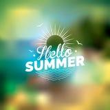 Vector Illustration auf einem Sommerferienthema auf unscharfem Hintergrund Stockbilder