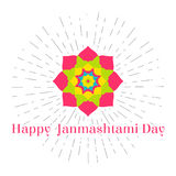 Vector illustration for 15 august, Happy Janmashtami day in vintage style. Design template for poster, banner,flayer. Greeting, invitation cards. Religion Royalty Free Stock Photos