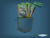 Vector illustration of australian dollars in the pocket of blue jeans Royalty Free Stock Image