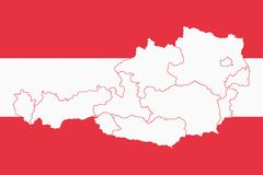 Vector illustration of Austria flag map. The size of the original Royalty Free Stock Photography