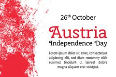 Vector illustration Austria Independence Day, Austrian flag in trendy grunge style. 26 October design template for Stock Photography