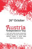 Vector illustration Austria Independence Day, Austrian flag in trendy grunge style. 26 October design template for Royalty Free Stock Images