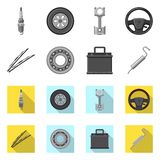 Vector design of auto and part icon. Collection of auto and car stock vector illustration. Vector illustration of auto and part symbol. Set of auto and car stock illustration