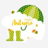 Autumn background.Umbrella, leaf and rain boots royalty free illustration