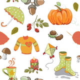 Vector illustration of autumn collection seamless pattern on white background. Hand drawn autumn collection of autimn traditional items like pumpkin, umrella vector illustration