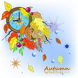 Vector illustration of autumn composition with clock abd faling leaves Royalty Free Stock Photo