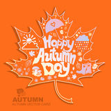 Vector Illustration of an Autumn Design. Vector autumn design. Hand drawn lettering. Autumn illustration Stock Photography