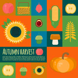 Vector illustration of autumn harvest in flat style Royalty Free Stock Photo