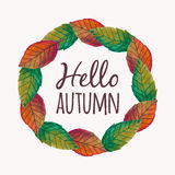 Vector illustration with autumn leaves frame and typography text. `Hello Autumn Royalty Free Stock Photography