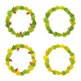 Vector illustration of autumn leaves in round frames. Set with leaves of Canadian oak, lilac and Rowan berries. Stock Photos