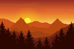 Vector illustration of an autumn orange mountain landscape. Under a sunrise sky with clouds Stock Photos