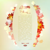 Vector illustration of autumn pattern with. Colorful translucent leaves. Autumn postcard, banner, maple leaf gold Stock Photos
