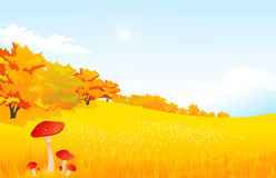 Vector illustration autumn rural landscape with Royalty Free Stock Photography