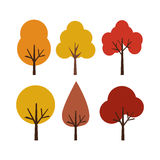 Vector illustration autumn trees isolated on white background. Collection Of Autumn Trees, Isolated On White Background. Simple collection of autumn trees of Royalty Free Stock Image
