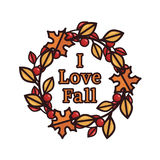 Vector illustration of an autumn wreath with text Stock Photo