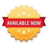 Available now. Vector illustration of available now seal golden star on isolated white background vector illustration