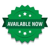 Available now. Vector illustration of available now seal green star on isolated white background royalty free illustration