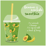 Vector illustration of Avocado and Banana Smoothie recipe with ingredients. Stock Photography