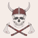 Vector illustration with axes and human skull wearing viking helmet Royalty Free Stock Image