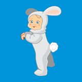 Vector illustration of babies. Vector illustration of baby bunnies in a suit Stock Image