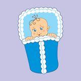 Vector illustration of babies. Vector illustration of baby wrapped in a blanket Stock Photography
