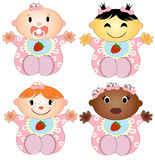 Vector Illustration 4 babies girl. Four children Stock Images